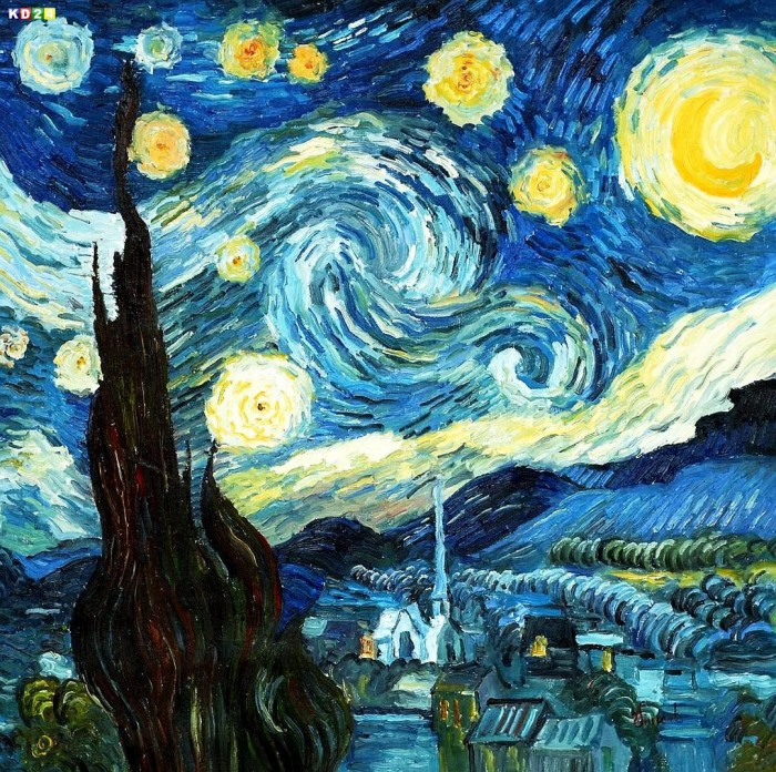 vincent van gogh sternennacht g78107 80x80cm lgem lde handgemalt ebay. Black Bedroom Furniture Sets. Home Design Ideas