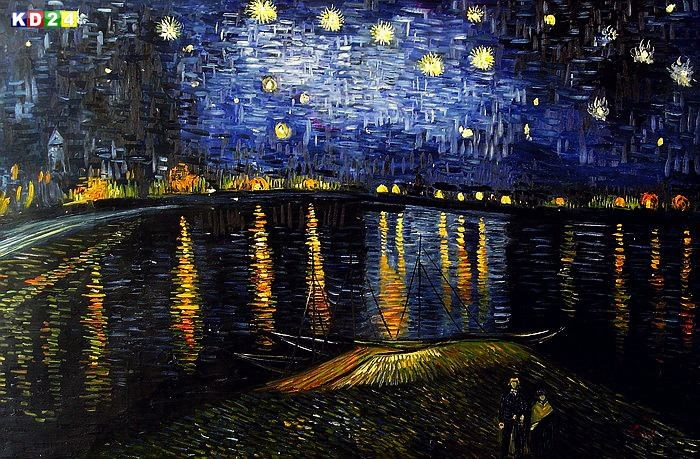 vincent van gogh sternennacht ber der rhone p79776 120x180cm lgem lde ebay. Black Bedroom Furniture Sets. Home Design Ideas