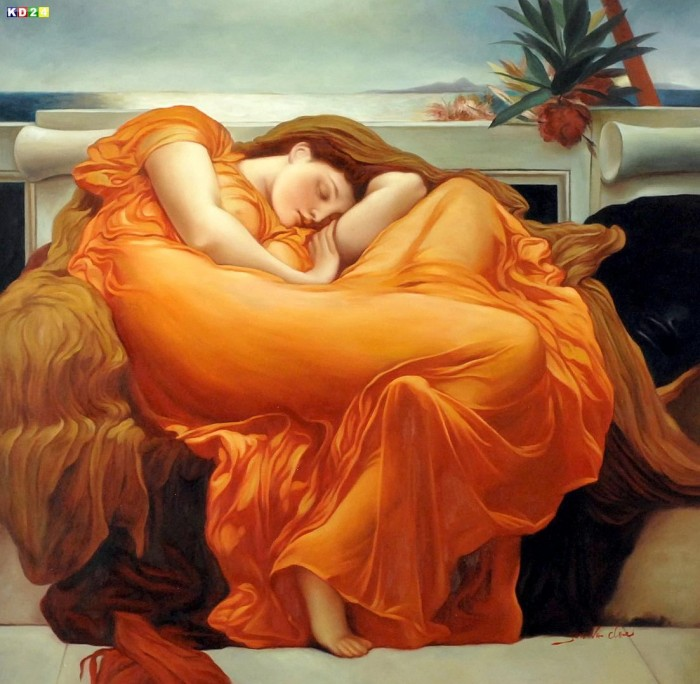 Lord Frederick Leighton - Flaming June g79052 80x80cm Ölgemälde in Museumsqualität