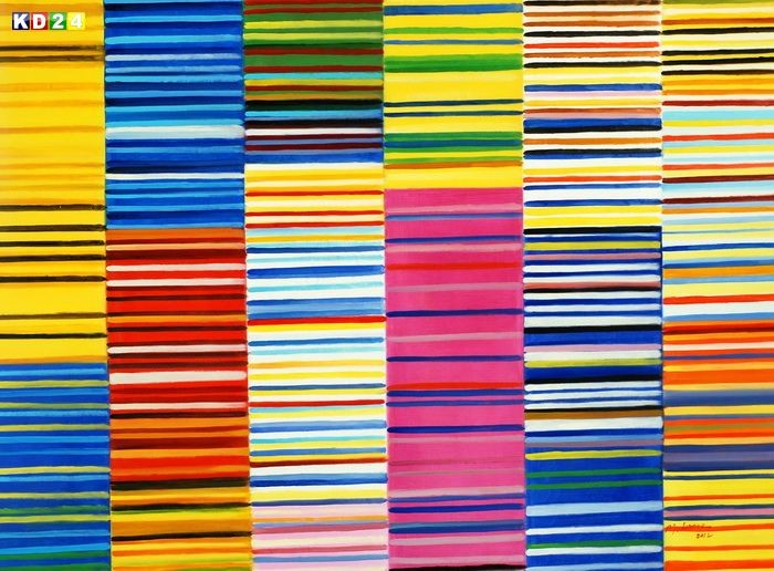Modern Art - Lorenz stripes Homage of Paul Smith k79435 90x120cm modernes Öbild