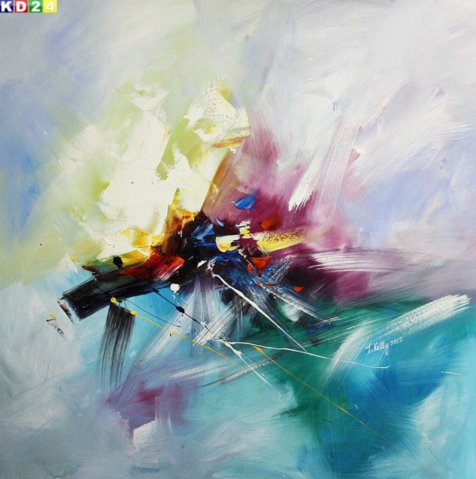 Modern Abstrakt - blowing colors x80293 100x100cm Top Ölgemälde Modern Art Handgemalt Zeitgenössisch Ölbild