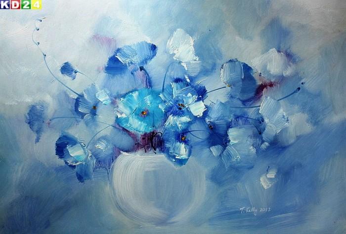modern abstrakt vase mit blauen blumen d80564 60x90cm top. Black Bedroom Furniture Sets. Home Design Ideas
