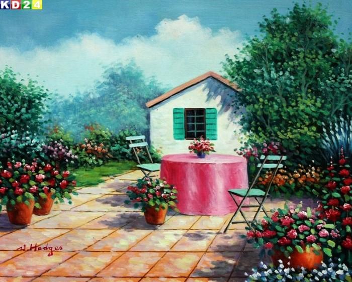 modern haeuschen mit blumengarten b80967 40x50cm. Black Bedroom Furniture Sets. Home Design Ideas