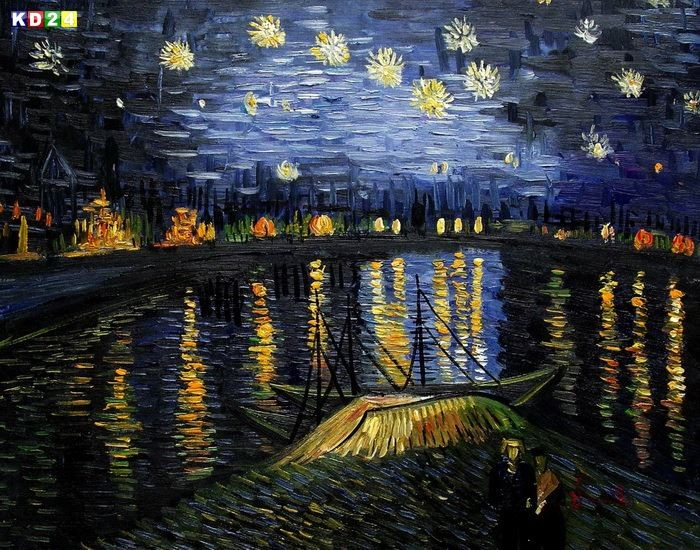 vincent van gogh sternennacht ber der rhone b81449 40x50cm gem lde handgemalt ebay. Black Bedroom Furniture Sets. Home Design Ideas