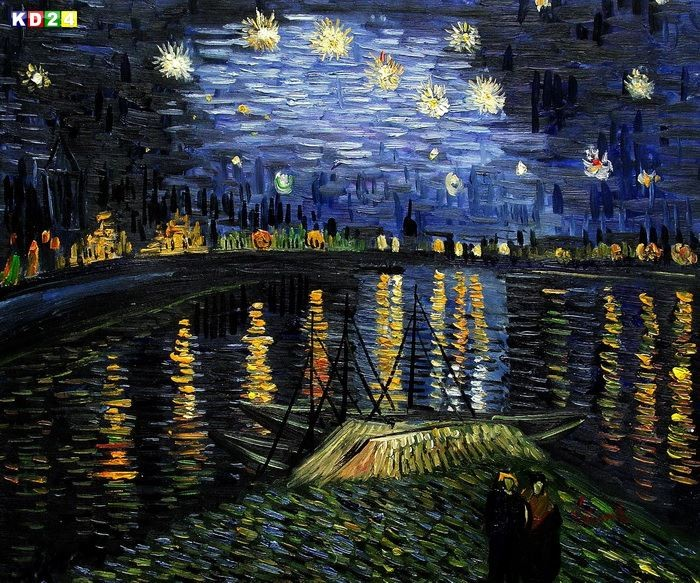 vincent van gogh sternennacht ber der rhone c81477 50x60cm lbild handgemalt ebay. Black Bedroom Furniture Sets. Home Design Ideas