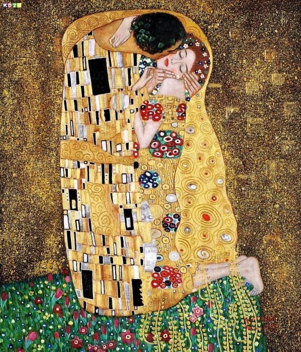 gustav klimt der kuss c81722 50x60cm lgem lde handgemalt museumsqualit t ebay. Black Bedroom Furniture Sets. Home Design Ideas