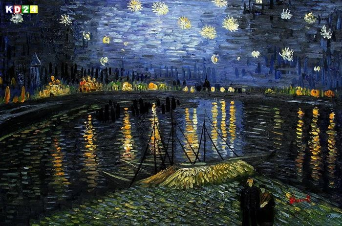 vincent van gogh sternennacht ber der rhone d81535 60x90cm gem lde handgemalt ebay. Black Bedroom Furniture Sets. Home Design Ideas