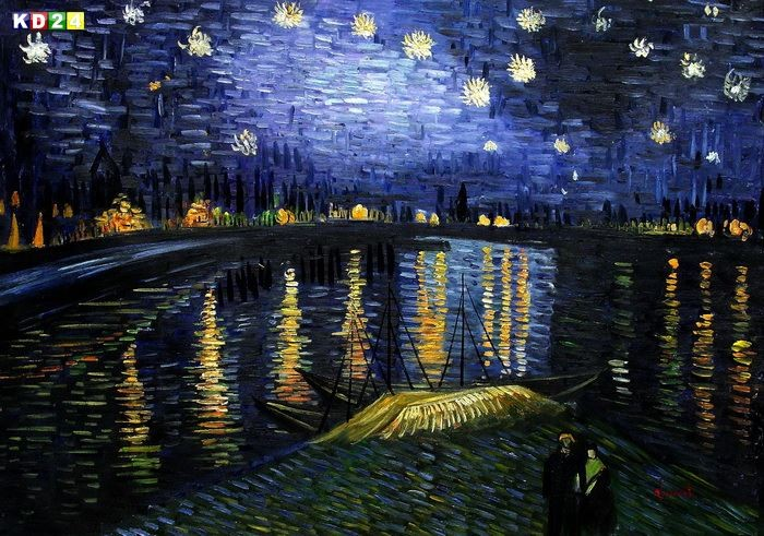 vincent van gogh sternennacht ber der rhone i81593 80x110cm lbild handgemalt ebay. Black Bedroom Furniture Sets. Home Design Ideas