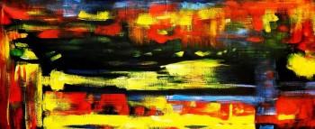 Abstrakt - Berlin an der Weltzeituhr t90842 75x180cm abstraktes Ölgemälde handgemalt